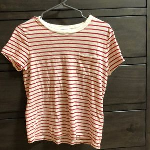 Madewell red and white striped pocket tee